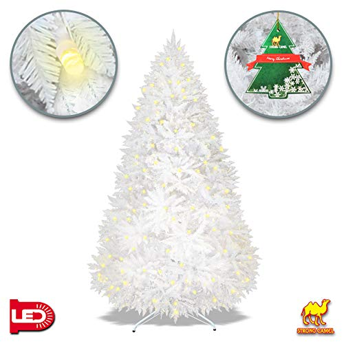 Strong Camel Pre-lit White Christmas Tree Artificial PVC Chrismas Tree 650 LED Lights Decorate Pine Tree with Metal Stand White (7FT)