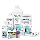 Metacril Easy Kit Hypo Chlor para hidromasajes y piscinas. Tratamiento completo a base de calcio hipoclorito en pastillas de 7 g. Ideal para jacuzzi,Teuco,Dimhora,Intex,Bestway.