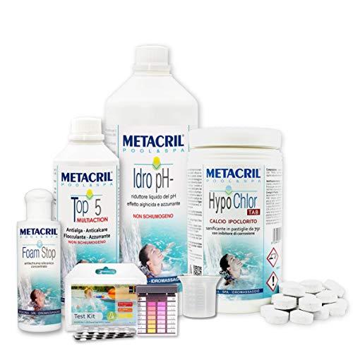Metacril Easy Kit Hypo Chlor para hidromasajes y piscinas. Tratamiento completo a base de...