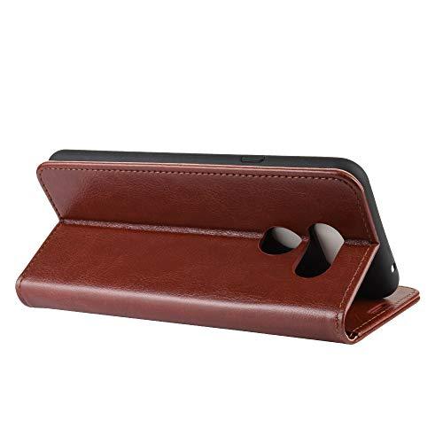DAMAIJIA Funda Movil para LG K40S Carcasa Cuero PU Silicona Magnetic Wallet Protector Teléfono Flip Back Cover For K40S LG K40S K 40S LGK40S Tapa con Soporte (Brown)