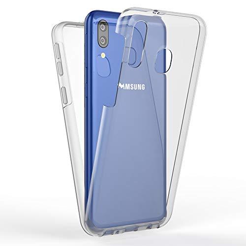 Kaliroo Handyhülle 360 Grad kompatibel mit Samsung Galaxy M20 2019, Full-Body Schutzhülle Hardcase hinten und Bildschirmschutz vorne mit Silikon Bumper, Full-Cover Hülle Komplett-Schutz Hülle - Transparent