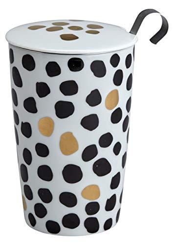"""TEAEVE® Teetasse, Becher mit Sieb + Deckel, """"Black&White DROPS LUX Line"""" im Geschenkkarton"""