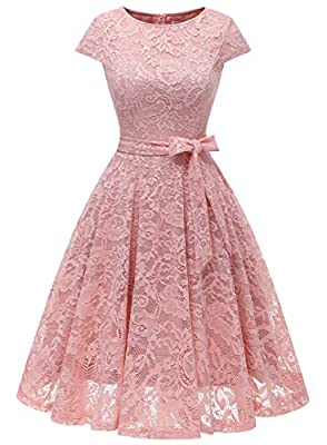 MUADRESS 6008 Women Short Lace Bridesmaid Dresses with Cap-Sleeve Formal Party Dresses Blush Small