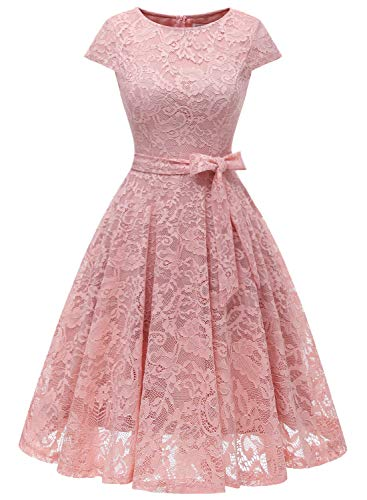 MuaDress 6008 Cocktailkleid Knielang Cape Ärmel Spitzen Brautjungfernkleid Floral Elegant Blush XL