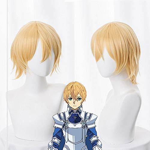 Sword Art Online Alicization SAO Eugeo Peluca de Cosplay Cabello Eugeo Sntesis Treinta y dos Anime Pelucas de disfraz cortas y esponjosas + Gorra de peluca