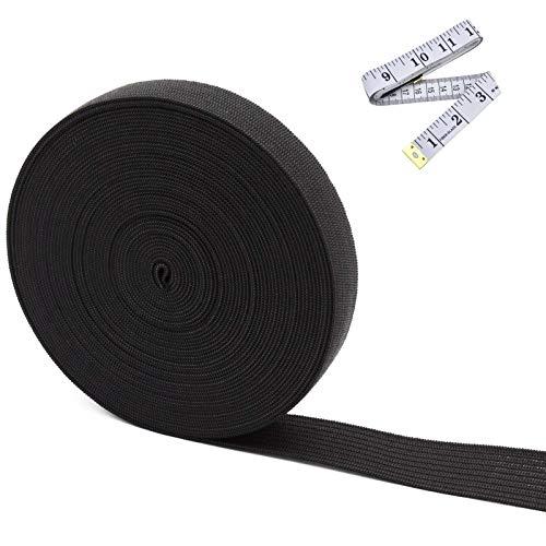 Elastic Bands for Sewing Elastic Spool Knit Elastic for Sewing Stretch Strap Cord Roll Elastic Fabric Band for Wig Band Elastic Sewing and Crafting High Elasticity Width 0.6 Inch x 5 Yard Black