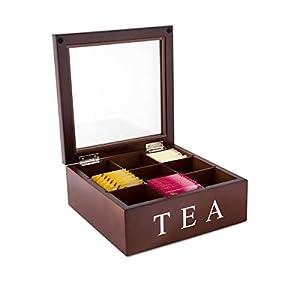 Faway Boîte à thé en bois 9 compartiments avec couvercle en verre à charnière