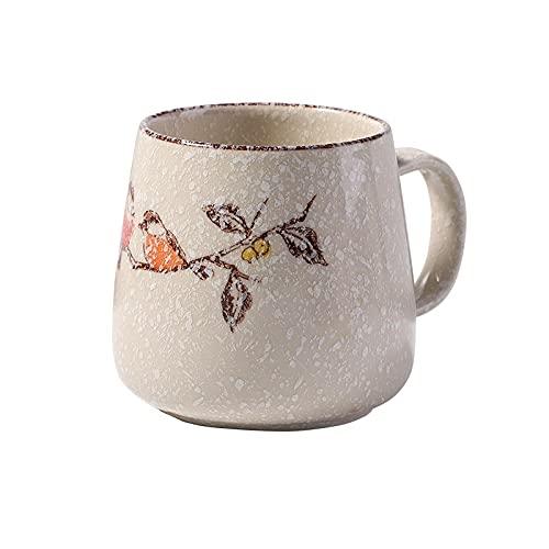 Taza de cerámica underglaze taza de agua de oficina taza de postre de leche de desayuno cuchara de verano con tapa copo de nieve pintado a mano B
