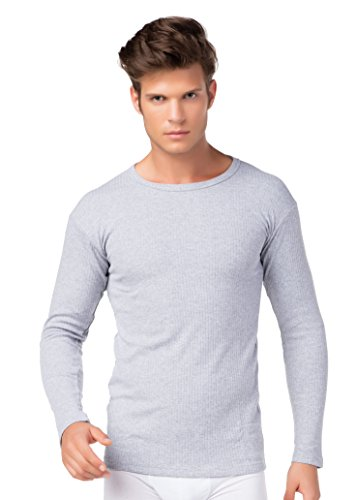 stylenmore Herren Thermo Unterhemd Langarm innen angeraut Baumwolle Farbe grau, Größe XL