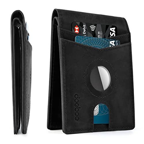 【Amazon 限定ブランド】doeboe Airtag 財布 定期入れ メンズ カードケース 8枚 二つ折り財布 カード収納ウォレット 本革レザー 高級牛革 ミニ 小さい 薄型、名刺、 Card お金入れ付き 便利 airtag 財布 クレジットカード 交通カード、パスケース、カード入れ (黒色)