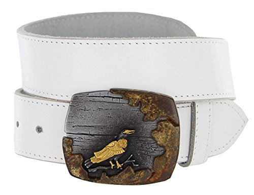 Avnet Men Steampunk Crow Leather Rust-Patina Copper Buckle 38mm Wide Belt,White 32 steampunk buy now online