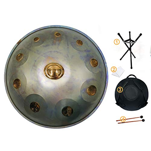 Handpan drum instrument, AS TEMAN handpan in D Minor 10 Notes 22 inches Steel Hand Drum with Soft Hand Pan Bag, 2 handpan mallet,Handpan...