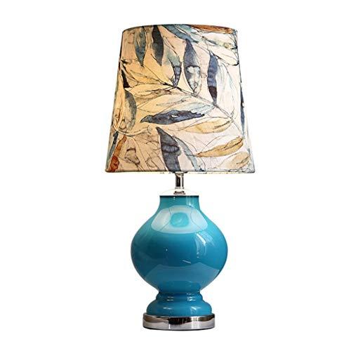 Binnenverlichting-CSQ Blauw bureaulamp, Bladpatroon lampenkap High Quality Glazen Tafellamp mediterrane stijl Living Room Side Table Desk Lamp E27 verlicht (Color : Blue, Size : 36 * 70cm)