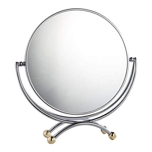 LIXHGJ Métal Double Face Bureau Pivot Maquillage Loupe Verre Compteur Beauté 3X pour Medical BeautyMagnifying Glass Maquillage Show Silver