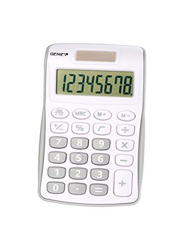 Genie 120 S 8-stelliger Taschenrechner (Dual-Power (Solar und Batterie), kompaktes Design) grau
