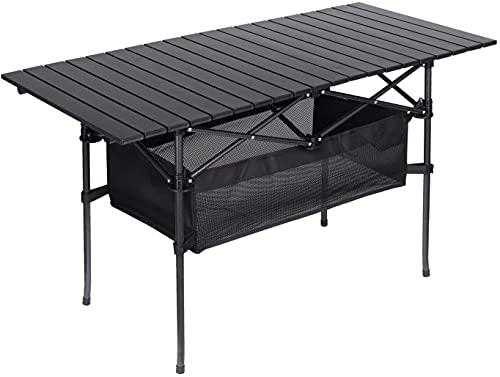 LaSoGi Table Pliante en Aluminium à l extérieur Hauteur Ajustable Portable Pique-Nique Camping Table avec Couche de Maille Sac de Rangement, Dessus de Table Enroulable 95 * 55 * 70 CM