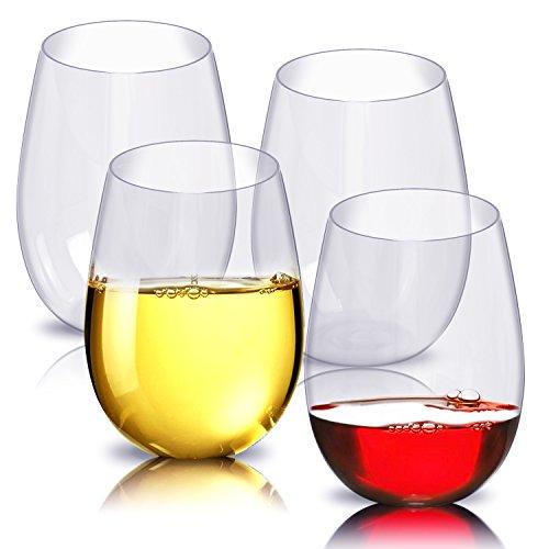 Copas de vino, de ESEOE, de plástico irrompible, reutilizables, sin pie, inastillables, juego de 4 unidades, de 47 cl cada uno, para fiestas, acampadas