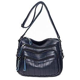 Coolives Sac portés Bandoulière Loisir pour Femme Sac a épaule Casual Sac Messenger Bleu