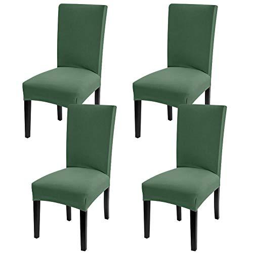 YISUN Universal Stretch Stuhlhussen 4er 6er Set Stuhlbezug für Stuhl Esszimmer (4er Set, Dunkler Grün)