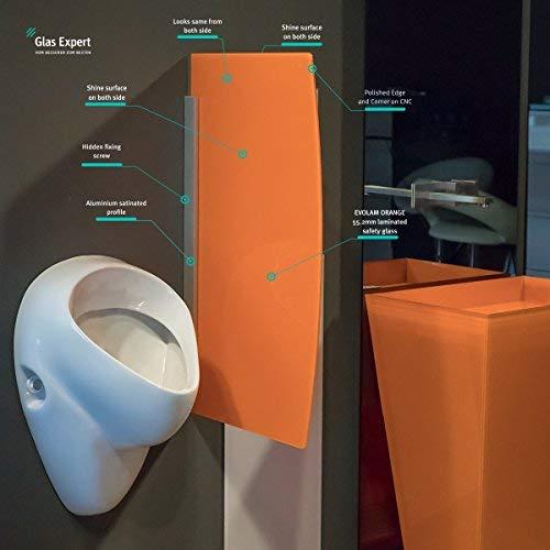 Glas Expert | Glas Urinal Trennwand | 45cm x 80cm | Urinal Glaswand | Bidet Toiletten Schamwand | Glas WC Trennwand (Orange)