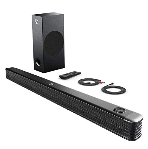 Bomaker Barre de Son, 150W Haut-Parleur 2.1 Canaux avec Subwoofer sans Fil, Barre de Son TV, Wireless Bluetooth 5.0 Soundbar Son Surround Home Cinéma