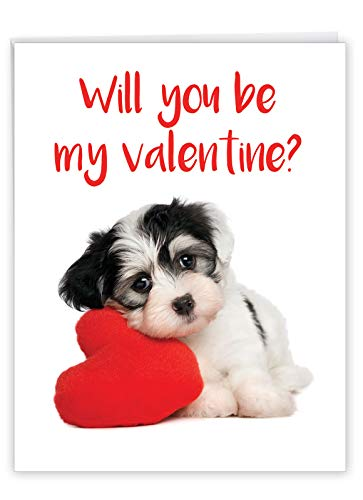NobleWorks, Big Animal Valentines Card with Envelope (8.5 x 11 Inch) - Jumbo Notecard for Valentine's Day - Puppy Heart J3470VDG