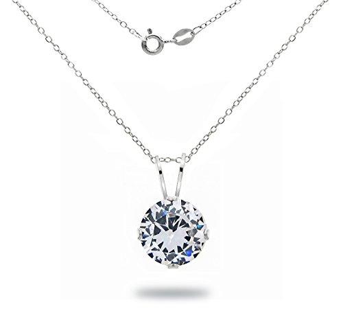 La Regis Jewelry Sterling Silver 7mm 2tcw Round Cubic Zirconia Pendant Necklace, 18