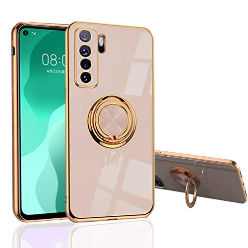 MingWei Hülle für Huawei P40 Lite 5G - Slim Fit [Drehring Ständer] [Luxuriöse Gold Metall Farbe] Silikon Weiche TPU Abdeckung [Stoßfest] (P40 Lite 5G, Hautpuder)