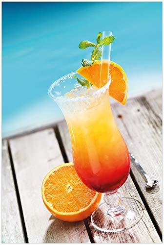 Wallario Glasbild Bunter Cocktail am Pool - 60 x 90 cm in Premium-Qualität: Brillante Farben, freischwebende Optik