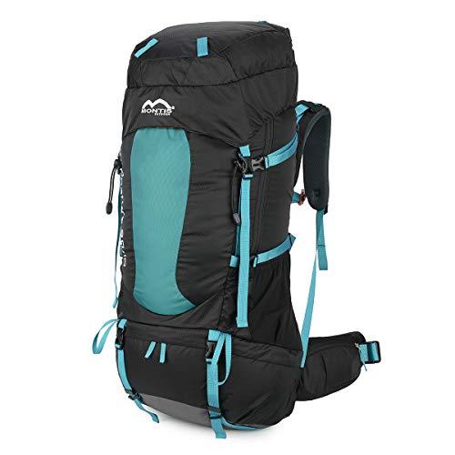 MONTIS WILDNATURE 80+10, Trekking-/Wanderrucksack, Regenschutz, genug Platz für Camping Ausflüge, geeignet als Backpacker, Touren- & Reiserucksack mit Audio- & Trinkvorbereitung, (80+10L - Türkis)