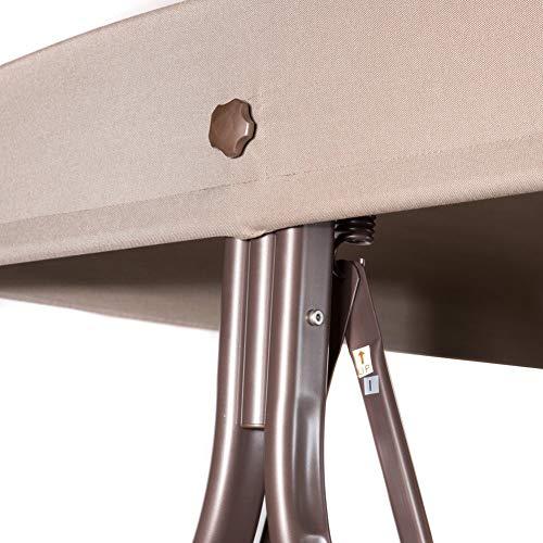 SORARA Luxus 3-sitzer Hollywoodschaukel | Braun | extra stabile Ausführung | Gartenschaukel Gartenliege Schaukelbank Gartenmöbel - 6
