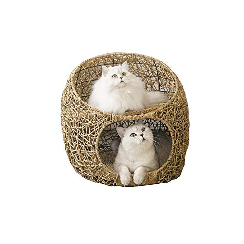 Cat Tree Tower Cat Climbing Frame Double-layer Cat Bed Basket Wicker Pet Dog Sleeping House With Soft Cushion Four Seasons Universal Cat House Cat Supplies FENGNV1022