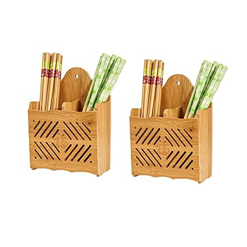 Batchelo 2 soportes para utensilios de cocina, estante de almacenamiento de cubiertos de madera, palillos, cuchara tenedor organizador cesta, para encimera de fregadero de cocina, estilo 1