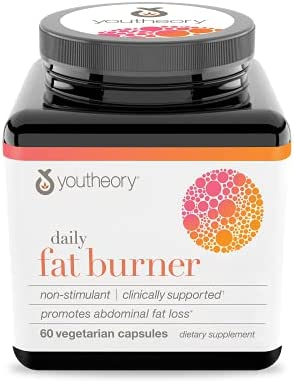 Youtheory Daily Fat Burner Vegetarian Capsules, Healthy Weight Management, 60 ct
