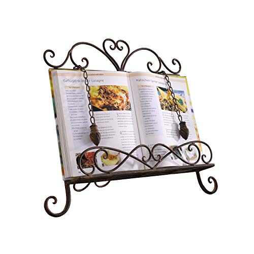 Antique Metal Cookbook Stand ~ Book Holder ~ Easel w/Weighted Chains