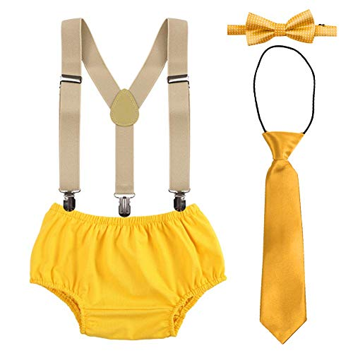 Cake Smash Outfit Set for Baby Boys 1st/2nd Birthday Diaper Cover Bowtie Adjustable Suspenders Ties Bloomers for Birthday Photography Fishing Party Yellow One Size