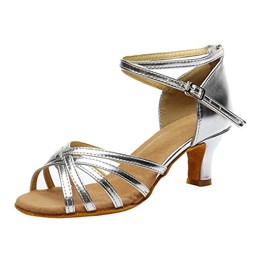 Plateausandalette Damen Sommer Farbe Mode Rumba Walzer Prom ballsaal Latin Salsa Tanzschuhe Sandalen (Silver,38)