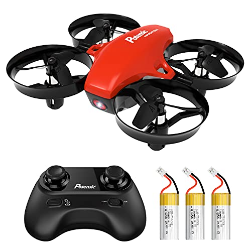 Potensic Mini Drone para Niño y Principiante, RC Helicopter Quadcopter con Control Remoto, Modo sin Cabeza, Altitude Hold, 3 Modos de Velocidad, 3 Baterías, A20 Rojo