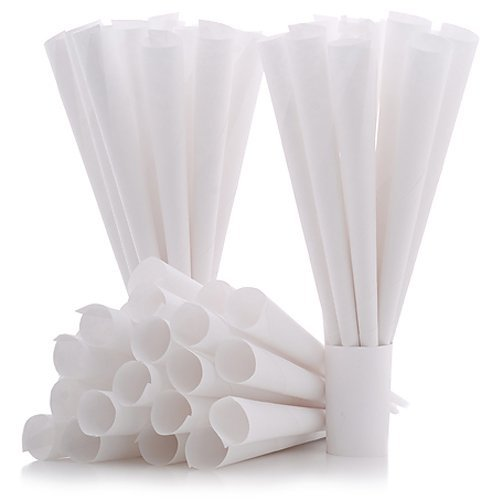 Cotton Candy Express 100-Count Paper Cones for Cotton Candy Making, White