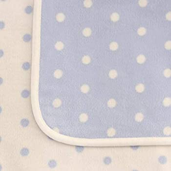 【HanzamCocoa】日本製 ひなたぼっこ 綿毛布 しっかり厚手 ベビーサイズ ベビーサイズ 100×70cm ドット柄 ブルー