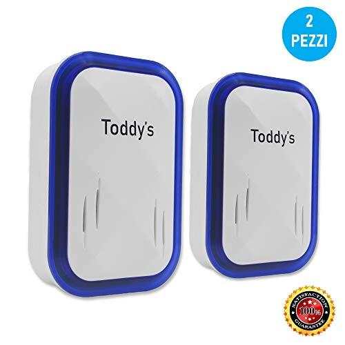 Toddy's - Repellente Ad Ultrasuoni Doppio Speaker - 24-120 kHz - Repellente a 360° per Zanzare, Insetti, Mosche, Ragni, Scarafaggi - Repellente Ultrasuoni per Topi - Ultrasuoni per Topi, Formiche