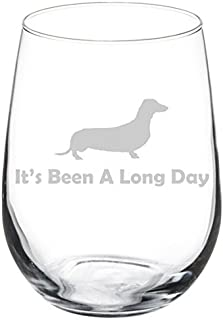 Wine Glass Goblet Funny It's Been A Long Day Dachshund (17 oz Stemless)