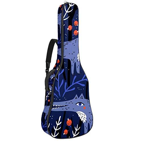 Funda de Guitarra Española Lobo de dibujos animados de animales Bolsa Acolchada Para Guitarra Acústica con Asa de Transporte y Correa Para el Hombro 109x43x12cm