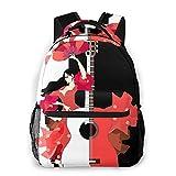 Mochila para portátil de viaje,hermoso vestido de niña española con volantes,rosas,abanico,bailando,guitarra flamenca en blanco y negro,resistente al agua para empresas,mochila antirrobo para ,