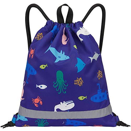 LIVACASA Mochila de Cuerdas Infantil Mochila con Cordón Bolsa de Cuerdas para niños Estampado Florales Lindos Azul