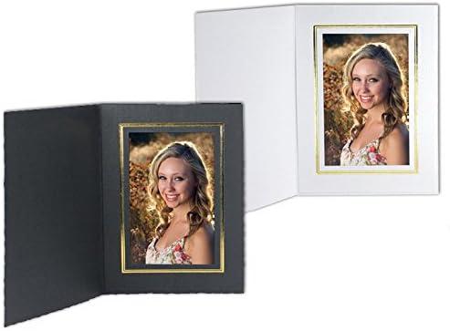 White Cardboard Paper Portrait Photo-mount Folder 5x7 frame w/go