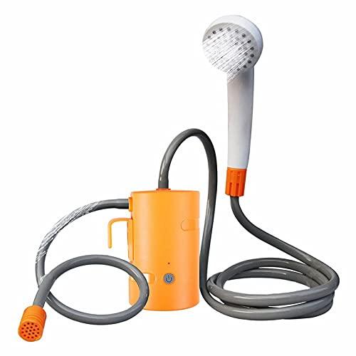 HEWAN IPX7 Impermeable Juego de Ducha portátil Bomba de Ducha de Camping al Aire Libre con Pilas Recargables USB para la Familia Senderismo Viajes Mascotas Orange-Without-Tub