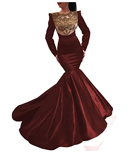 Eilemy Women's Mermaid Lace Appliques Long Sleeve Prom Dress Evening Gown Burgundy US14