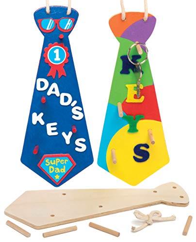"""Baker Ross Holz-Schlüsselbretter """"Krawatte"""" - zum Bemalen für Kinder - toll als Geschenk zum Vatertag (3 Stück)"""