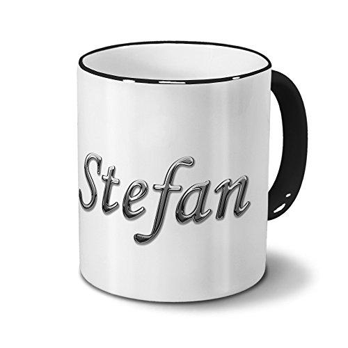 Tasse mit Namen Stefan - Motiv Chrom-Schriftzug - Namenstasse, Kaffeebecher, Mug, Becher, Kaffeetasse - Farbe Schwarz